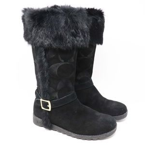 Coach DeeAnn Signature C Embossed Suede Fur Boots